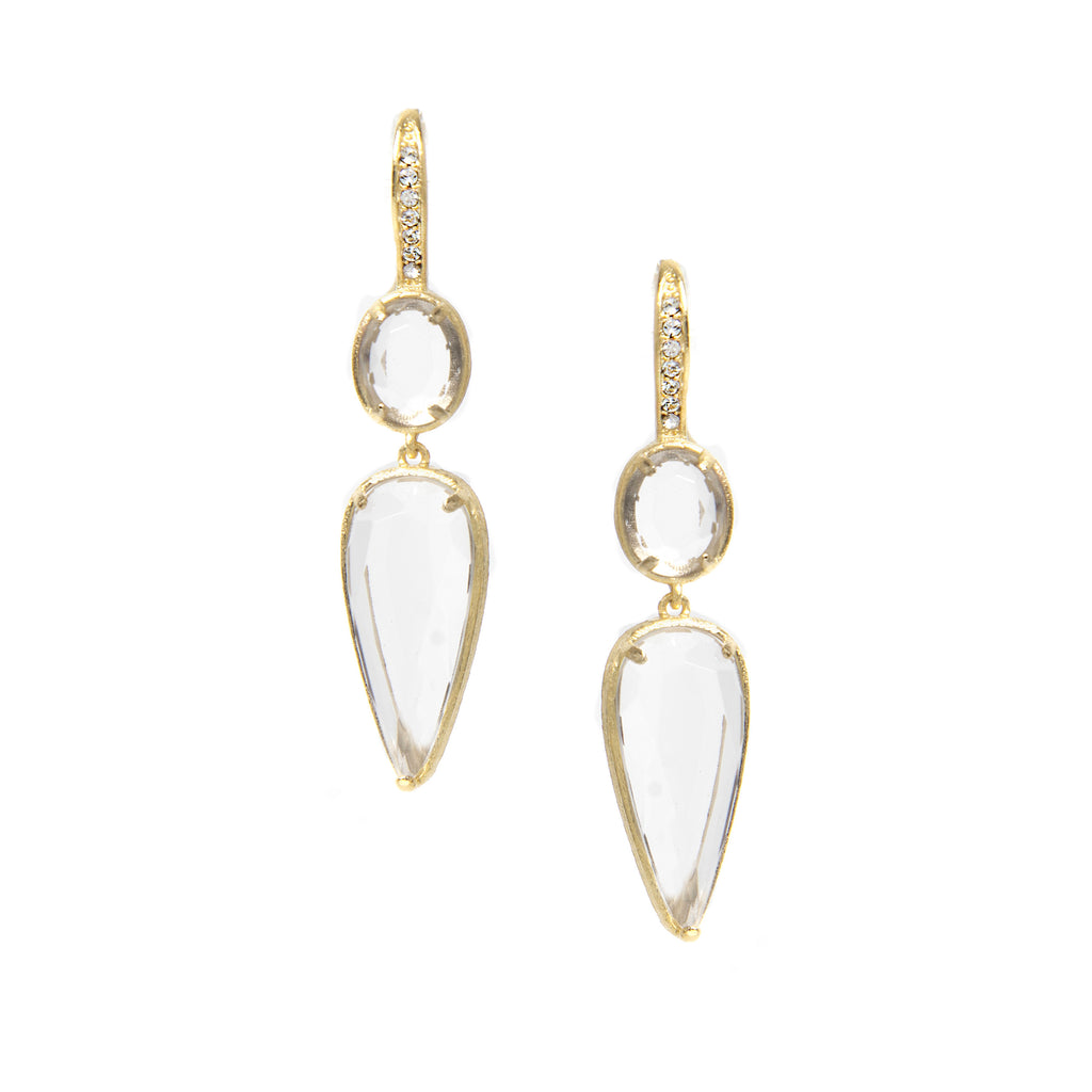 Rock Crystal + Simulated Diamond Double Drop Earrings