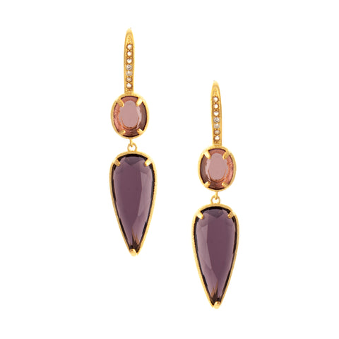 Amethyst + Tourmaline Double Drop Earrings