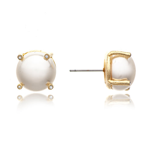 Synthetic Pearl + CZ Stud Earrings
