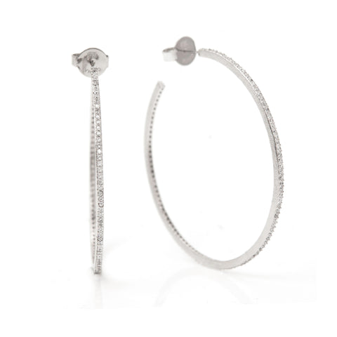 "White Rhodium Cubic Zirconia 2"" Thin Hoop Earrings"