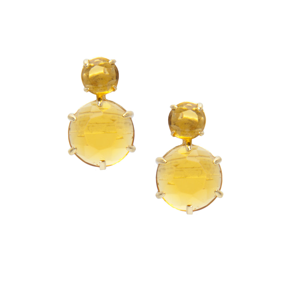 2 Stone Citrine  Drop Earrings