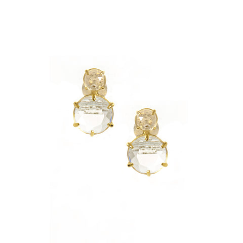 2 Stone Rock Crystal Drop Earrings
