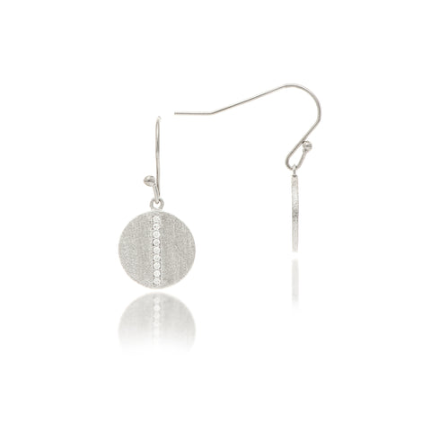 Rhodium Cubic Zirconia Petite Disc Hook Earrings