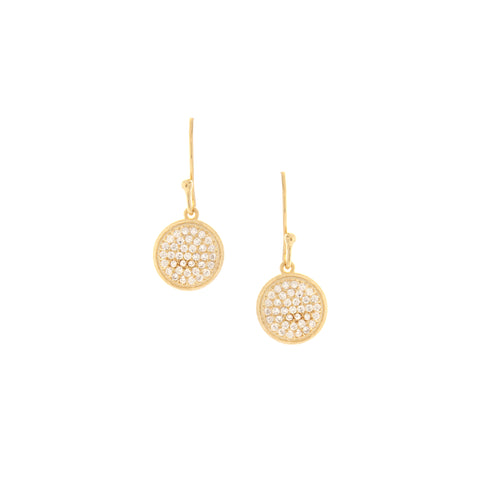 Pave Cubic Zirconia Disc Drop Earrings