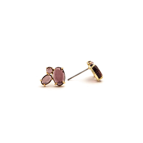 Three Stone Amethyst Crystal Stud Earrings