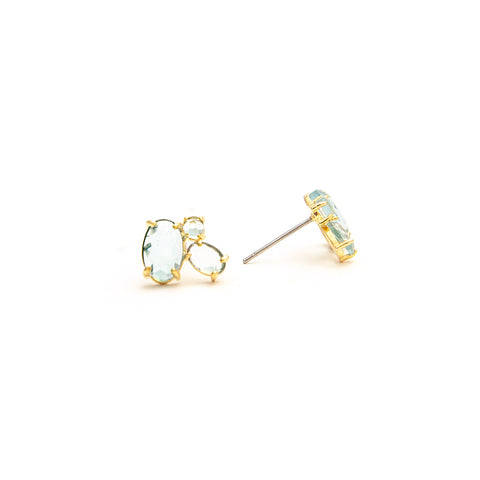 Three Stone Rock Crystal Stud Earrings