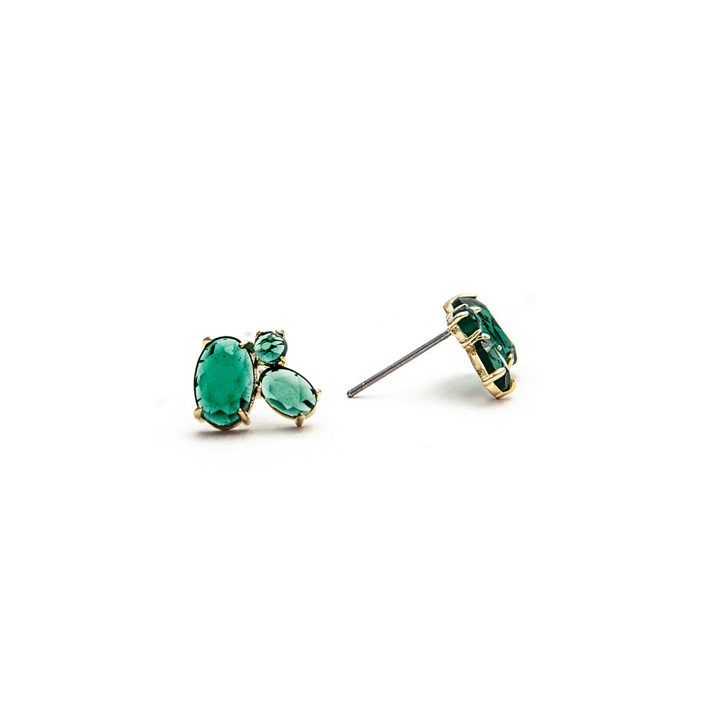 Three Stone Emerald Crystal Stud Earrings