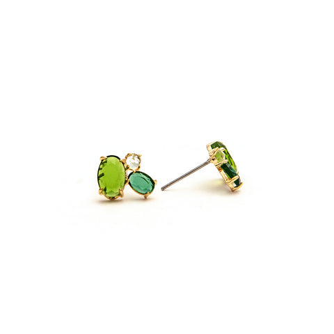 Three Stone Peridot, Emerald, Rock Crystal Stud Earrings