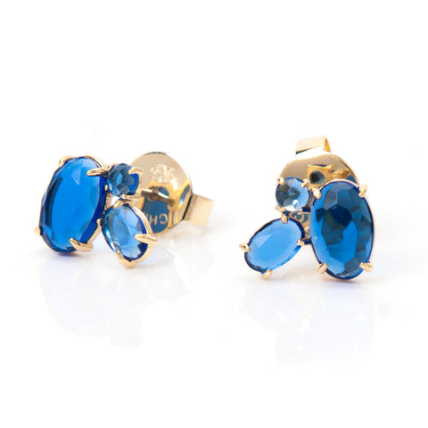 Three Stone Poppy Blue Crystal Stud Earrings