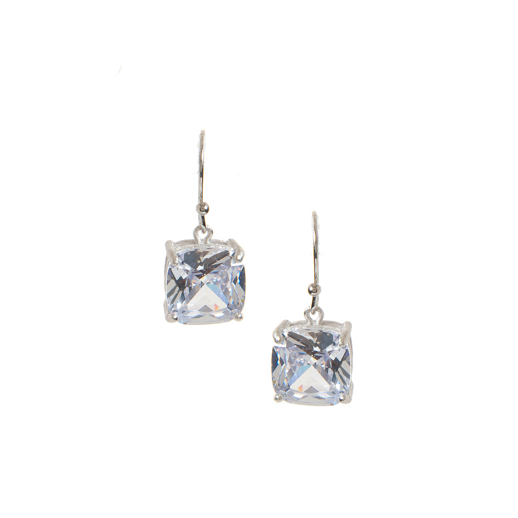 Rhodium Rock Crystal Drop Earrings