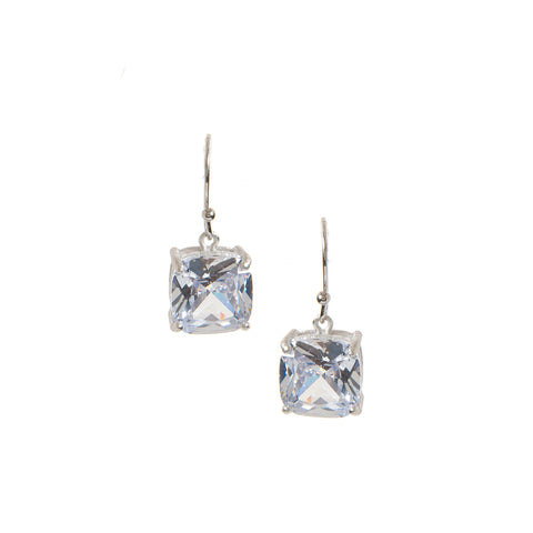 Rhodium Rock Crystal Dangle Earrings