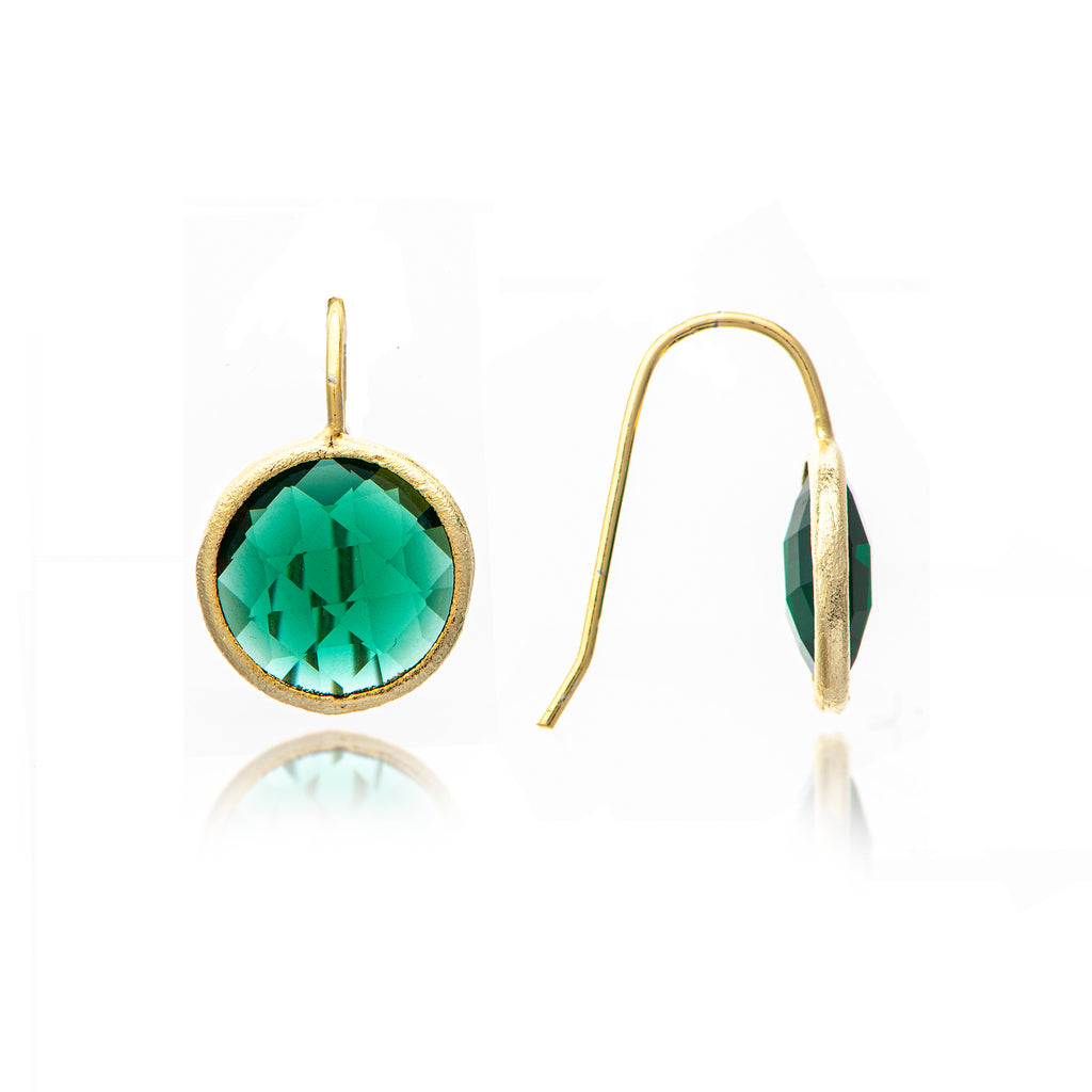 Emerald Crystal Round Drop Earrings