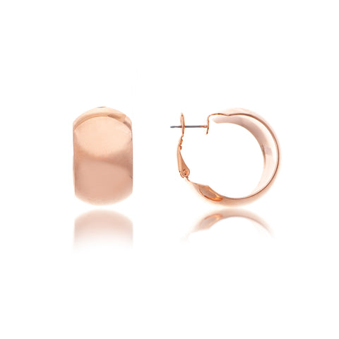 Rose Gold Polished Wide Huggie Hoop with Omega Back
