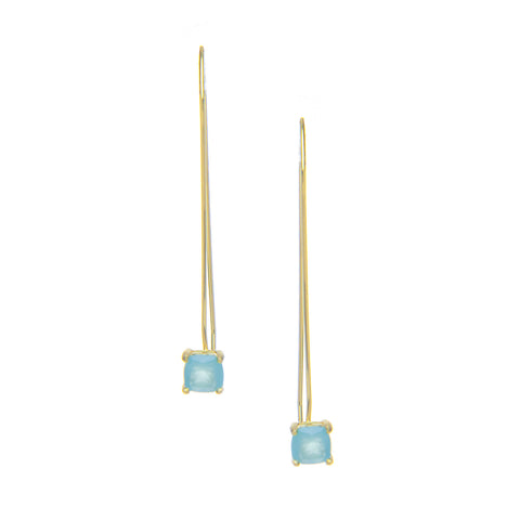 Mint Chalcedony Drop Threader Earrings