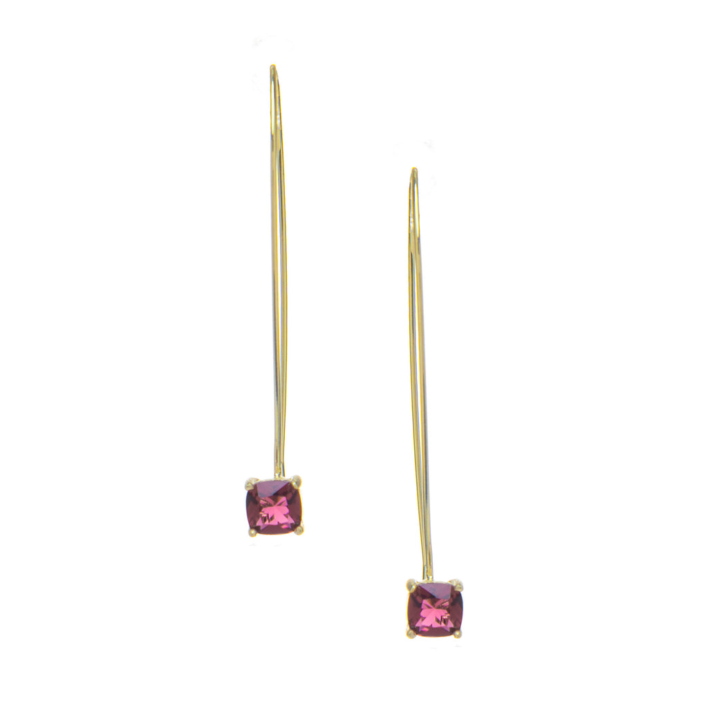 Raspberry Drop Threader Earrings