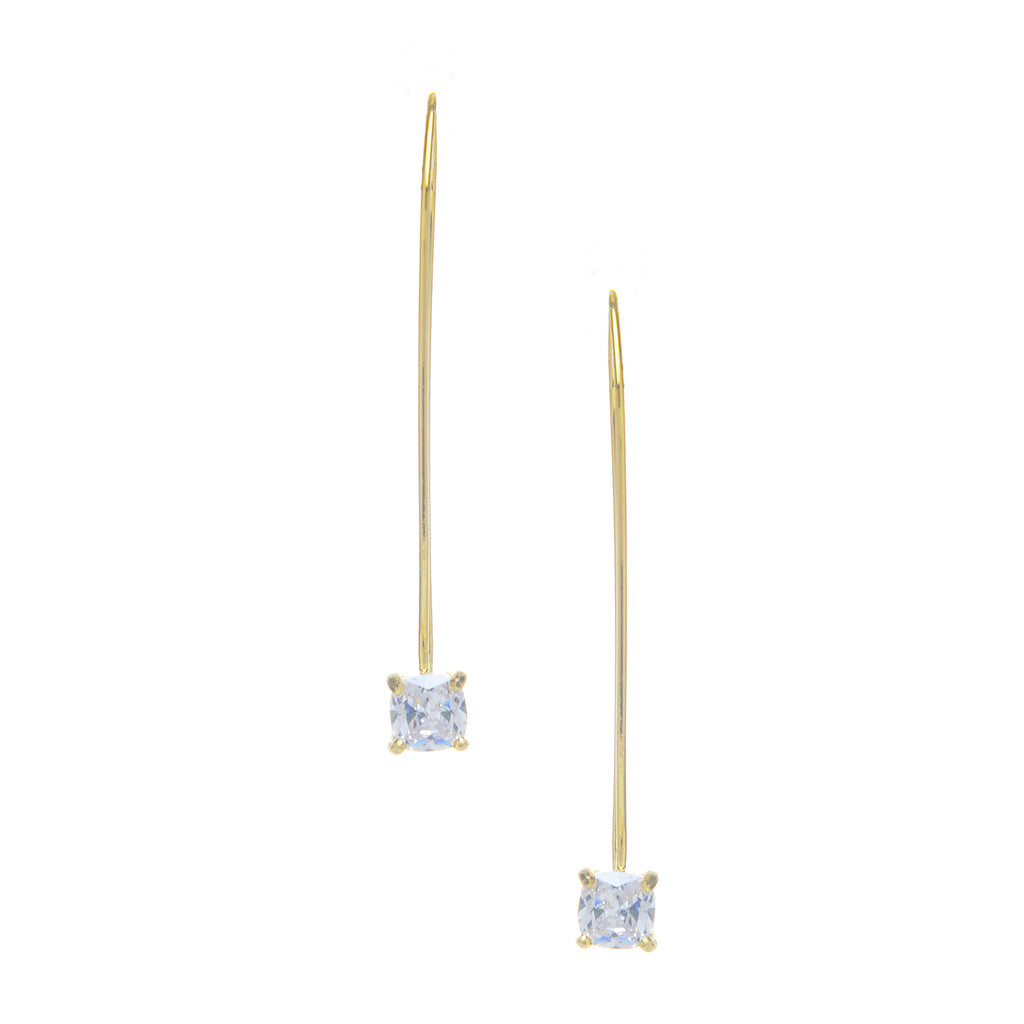 Cubic Zirconia Drop Threader Earrings
