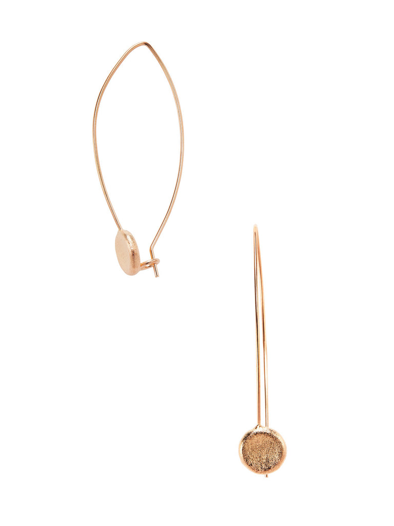 Rose Gold Concave Disc Threader Earrings - Closeout