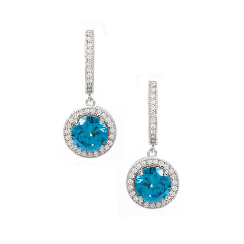 Blue + White Simulated Diamond Halo Drop Earrings