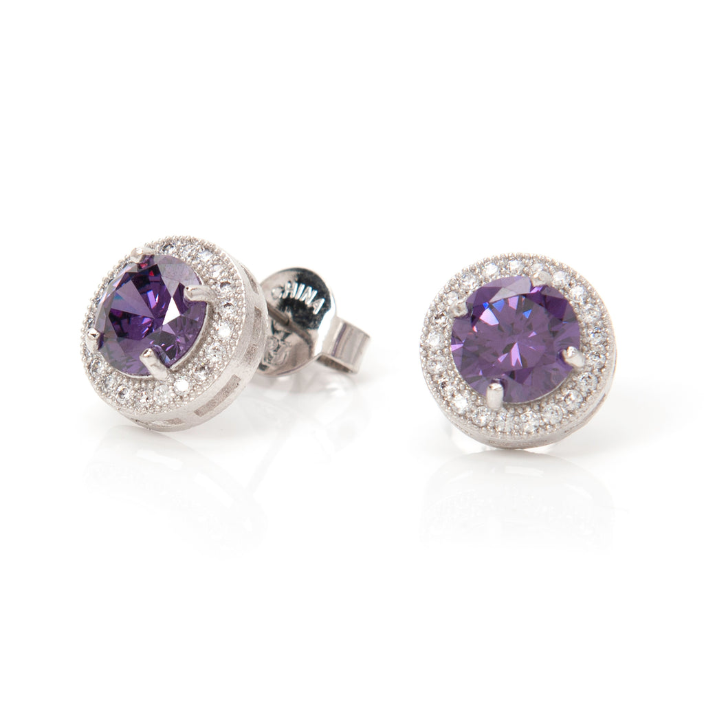 Simulated Diamond & Amethyst Halo Round Stud Earrings