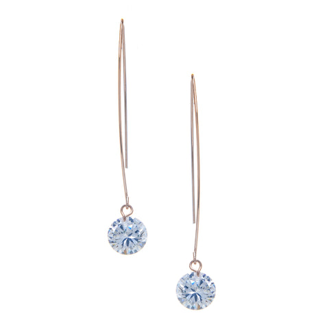 Rose Gold Simulated Diamond Drop Earrings