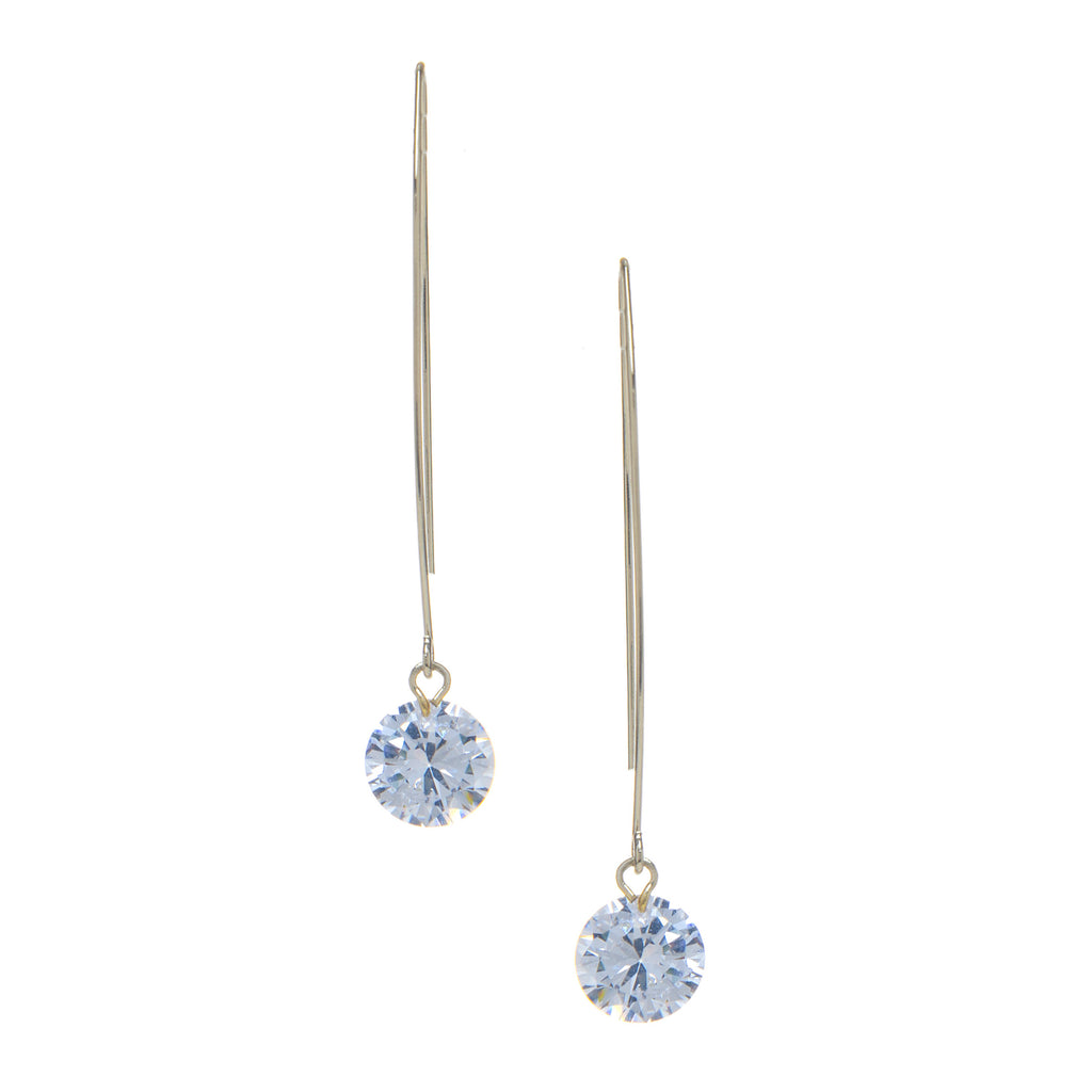 Cubic Zirconia Threader Drop Earrings - Available in Yellow Gold, Rose Gold, White Rhodium