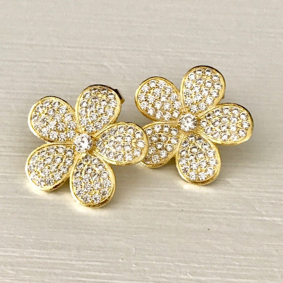 Cubic Zirconia Flower Stud Earrings - Closeout