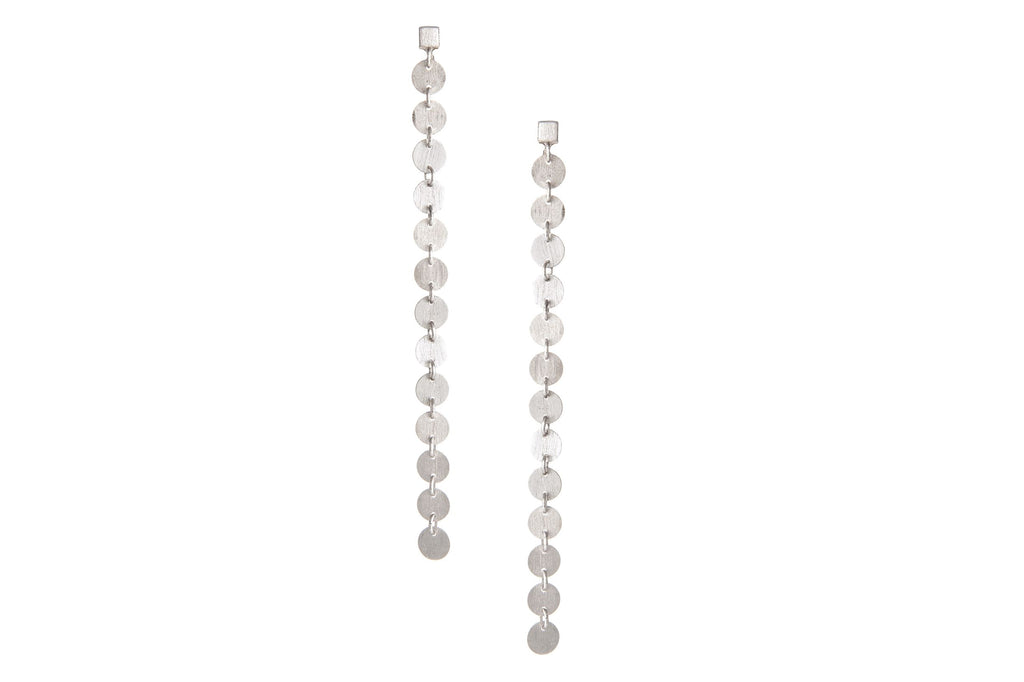 Rhodium Satin Mini Disc Drop Earrings