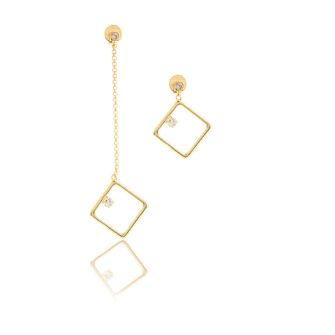 Asymmetrical Square Cubic Zirconia Earrings