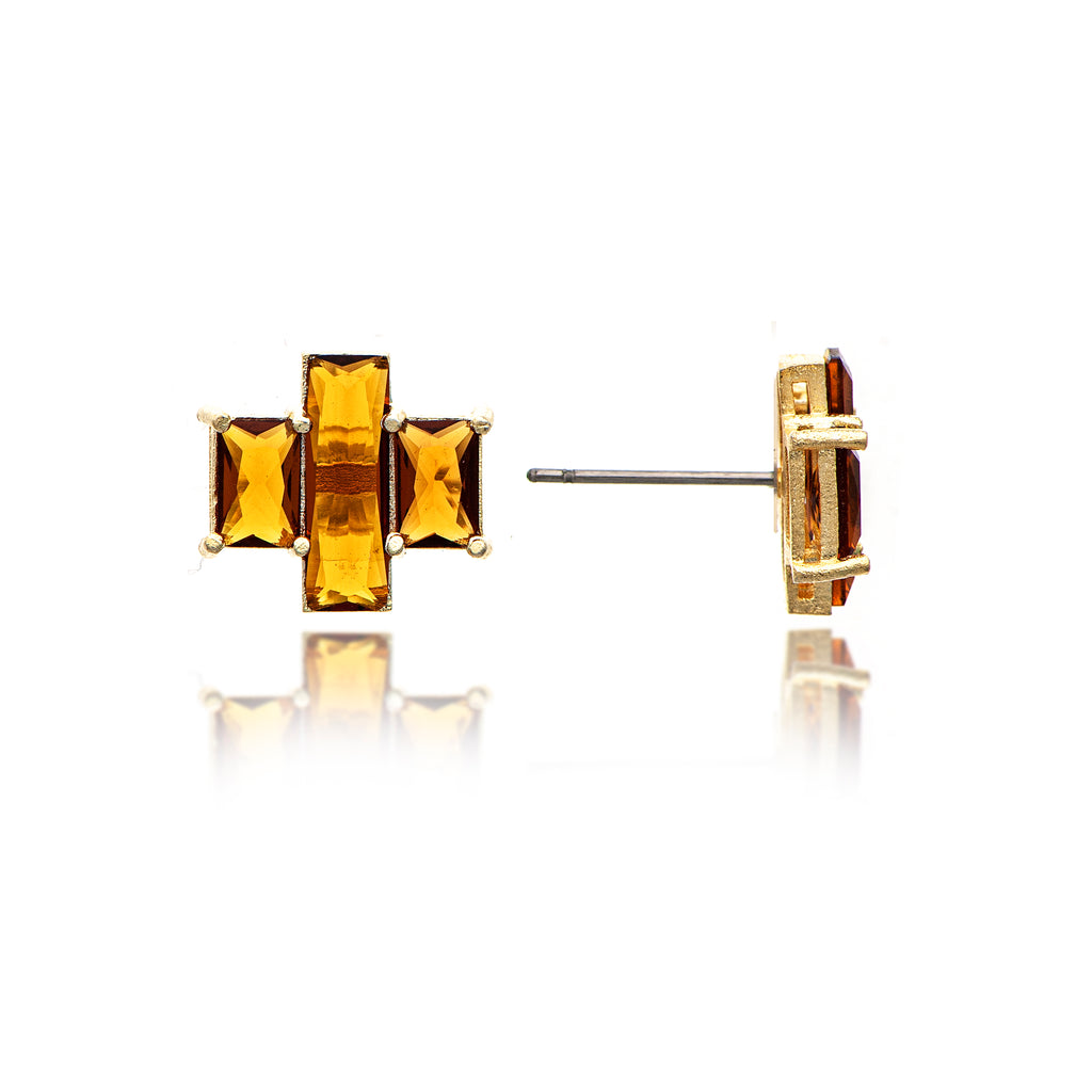 Amber Citrine Triple Emerald Cut Stud Earrings