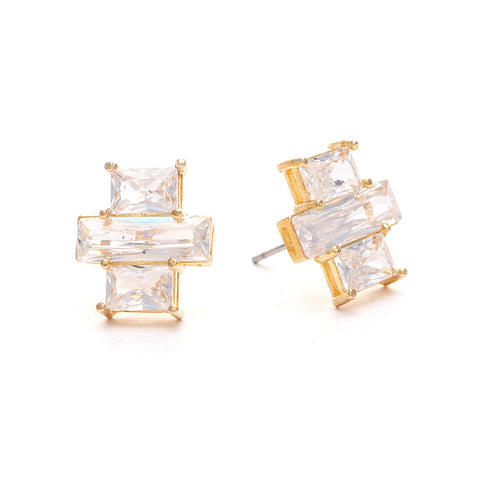 Triple Emerald Cut Stud Earrings