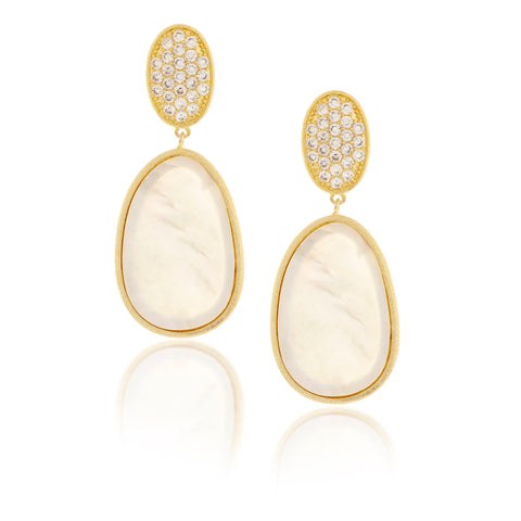 Mother of Pearl + Simulated Diamond Drop Earrings