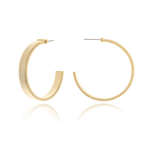 "Satin Flat 2"" Hoop Earrings"
