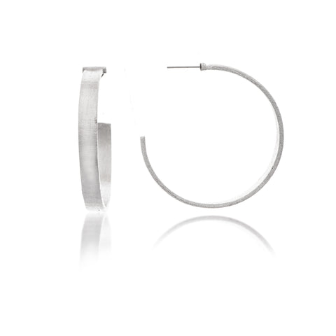 "Rhodium Satin Flat 2"" Hoop Earrings"