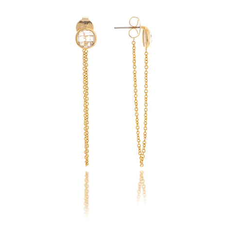 Simulated Diamond Chain Dangle Earring