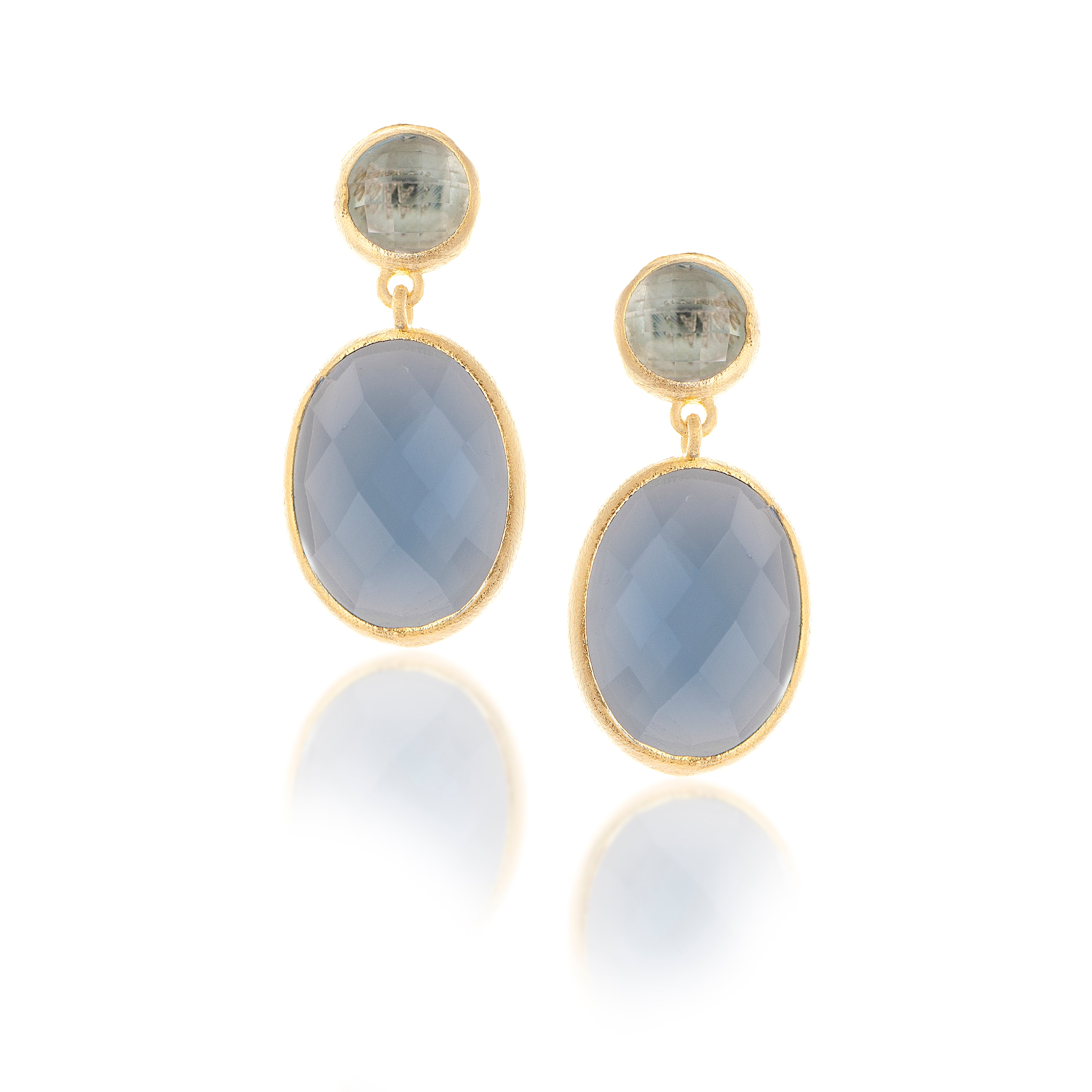 Swiss Blue Bezel Dangle Earrings