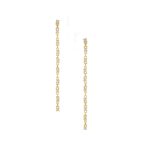Alternating Cubic Zirconia Link Dangle Earrings