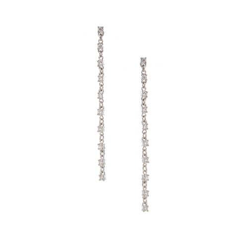 Rhodium Alternating Cubic Zirconia Link Dangle Earrings