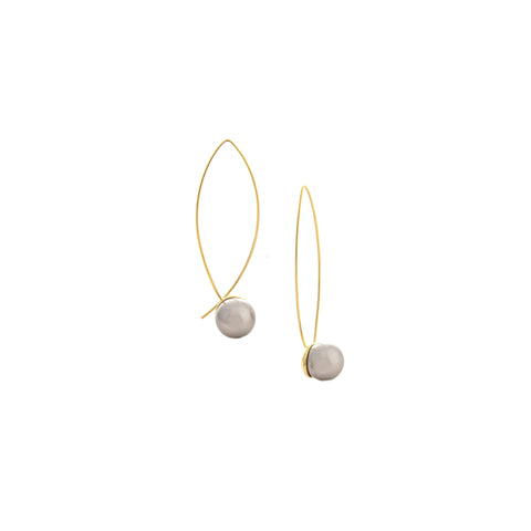 Grey Pearl Threader Earrings