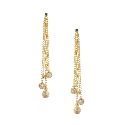 Poppy Crystal + Micro Pave Simulated Diamond Stud Cascading Dangle Earrings