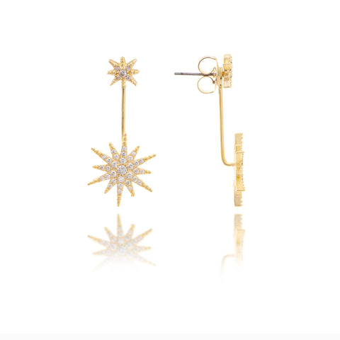 Simulated Diamond Starburst Convertible Earrings