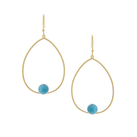 Turquoise Bead Teardrop Earrings