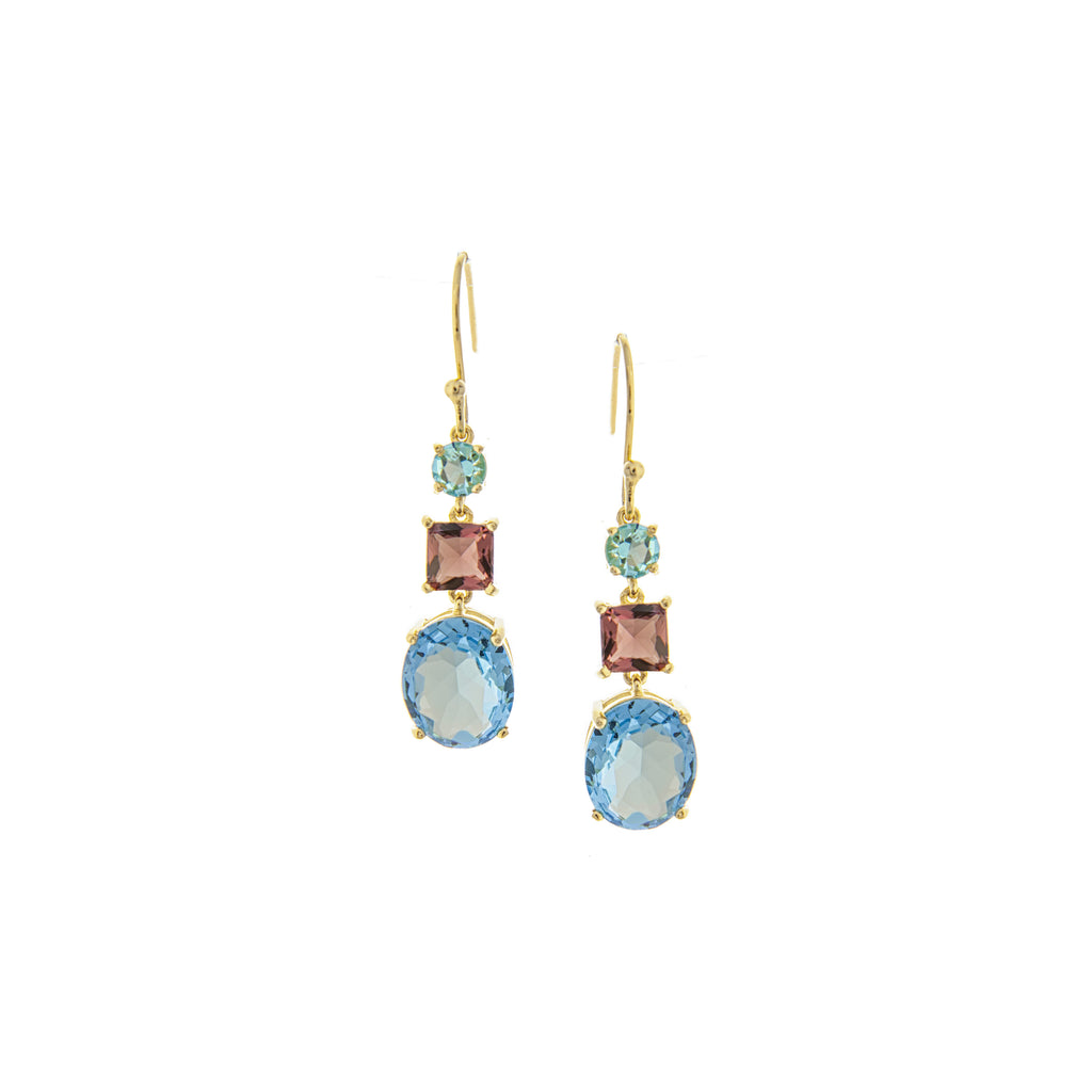 Raspberry + Blue Crystal Cascading Dangles