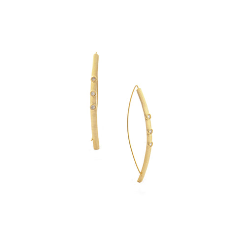 Triple Bezel Simulated Diamond Threader Earring