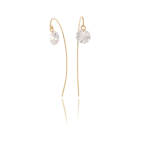 Simulated Diamond Threader Back Earrings