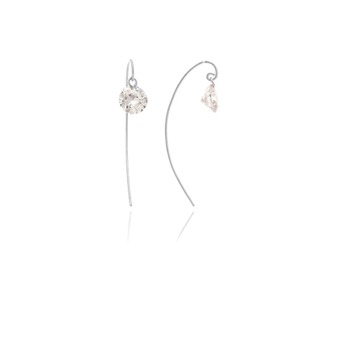 Rhodium CZ Threader Dangle Earrings