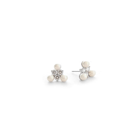 Rhodium Pearl + Simulated Diamond Cluster Stud Earrings