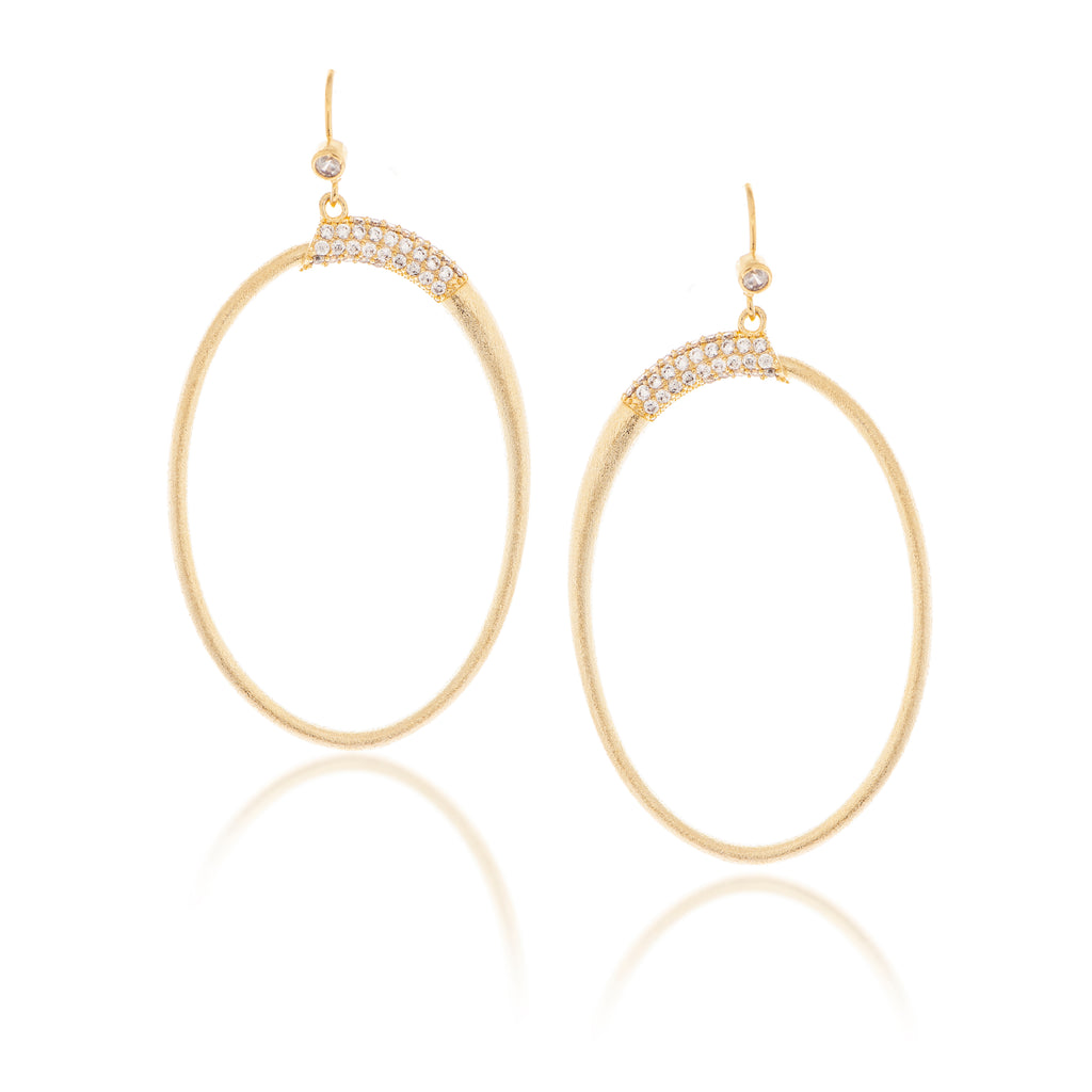 Simulated Diamond Accented Oval Earrings