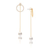 Cubic Zirconia + Pearl Front + Back Dangle Earrings