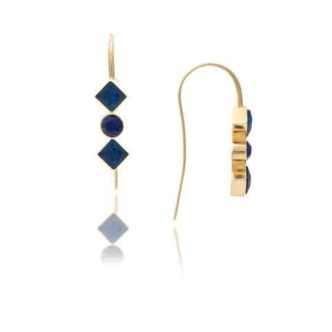 Blue Bezel Multi Stone Threader Earrings