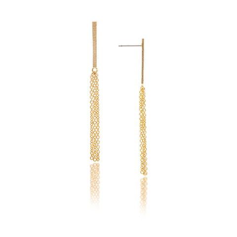 Polished Bar Chain Drop Earrings